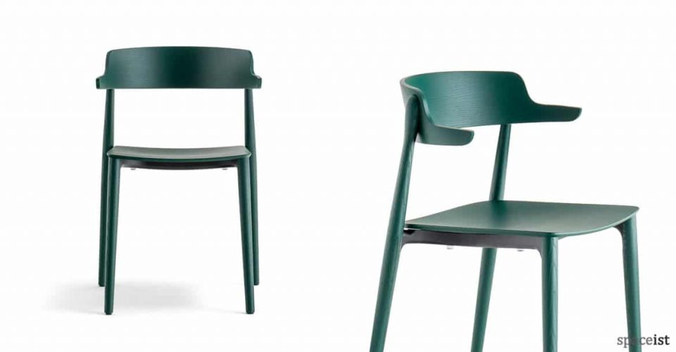 Nemea green stained cafe chair with arms