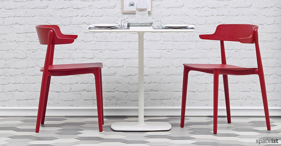 Nemea red solid ash cafe chair
