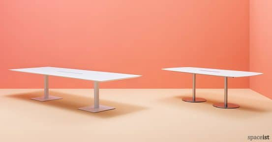 Plano-2 white meeting table with a metal base