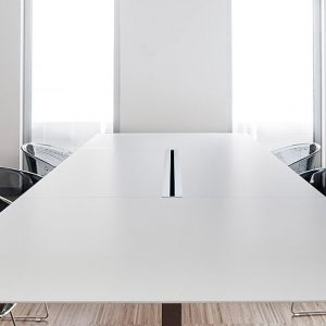 Plano white meeting table cable management