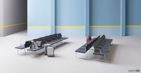 Plural black airport style seating