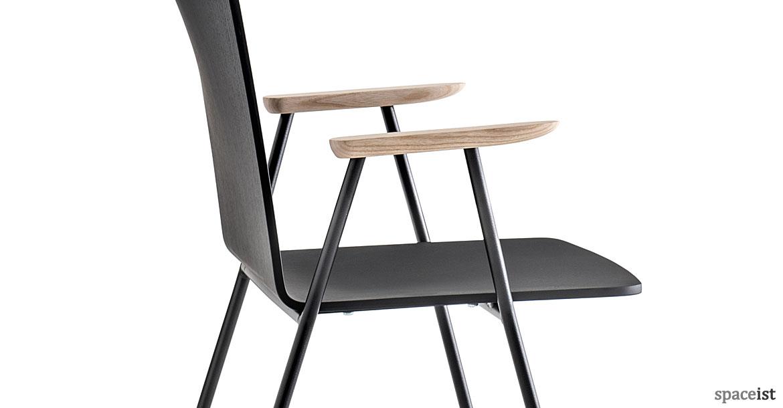 Saka Black Wood Chair With Light Wood Armrests