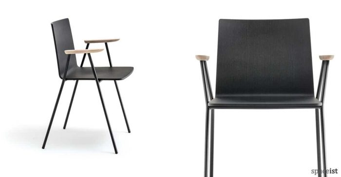 Saka black wood chair with light wood armrests