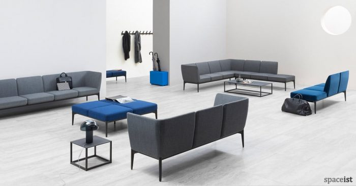 Social modular grey-blue reception sofa
