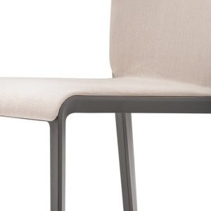 Volt meeting chair with cream seat and black legs