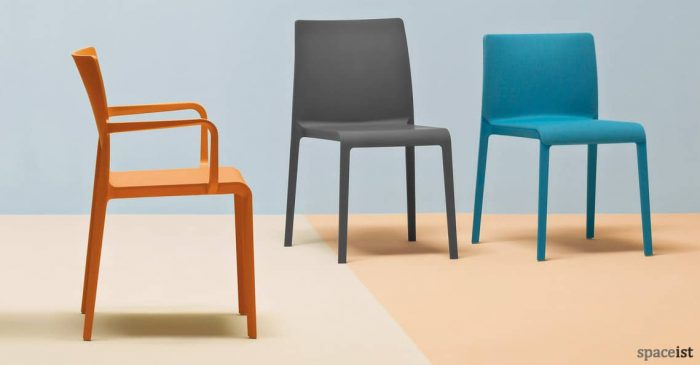 Volt high back cafe chair in blue, orange and black