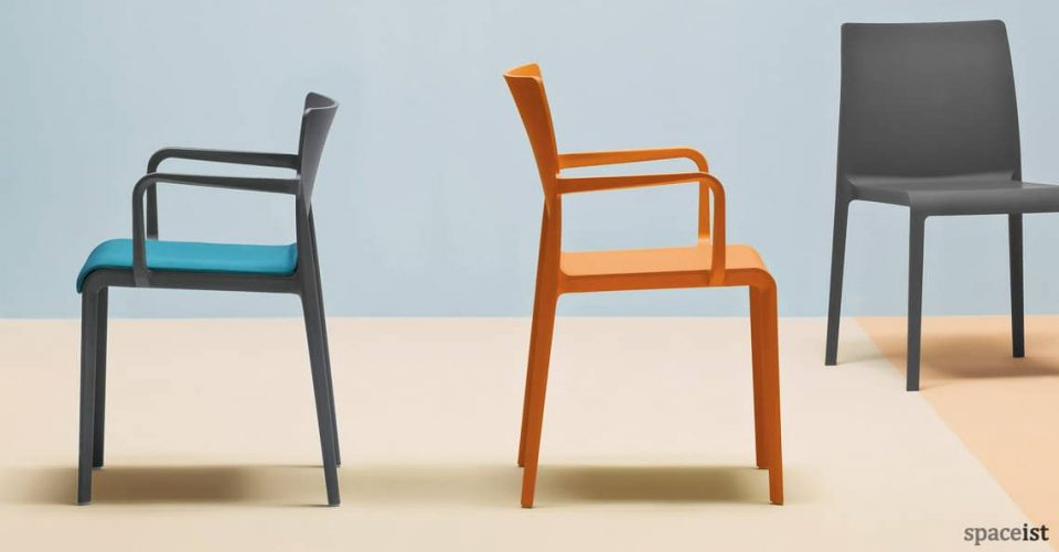 Volt outdoor high back cafe chair in blue, orange and black