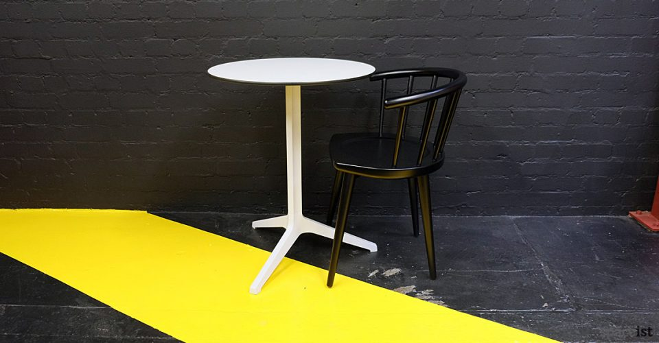 W solid beech cafe chair in black lacquer