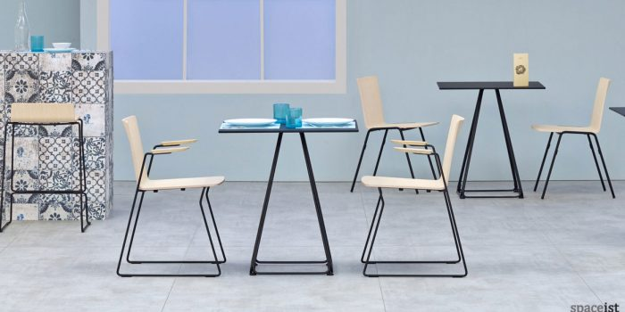 Luna pyramid style cafe table in black