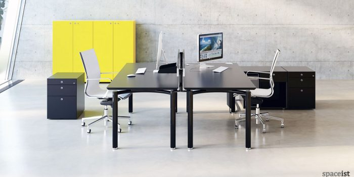 meta designer black office desk