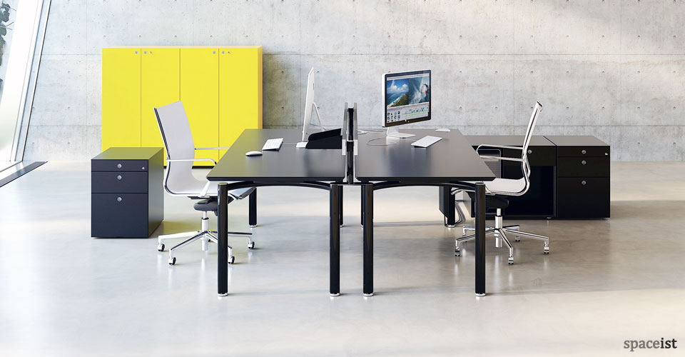 meta designer black office desk
