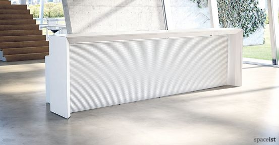 meta long white reception desk