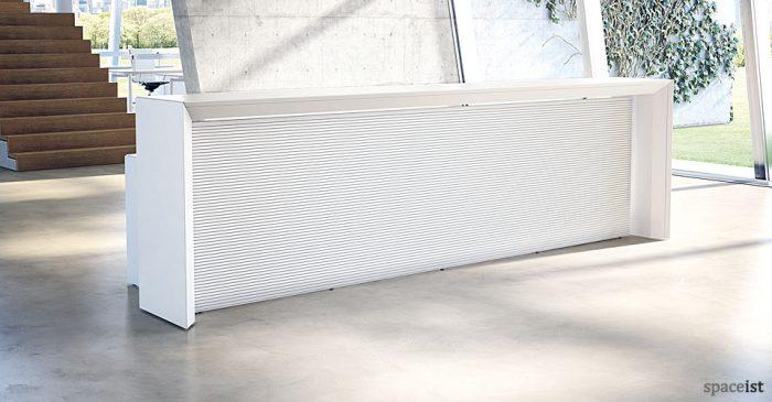 meta long white reception desk