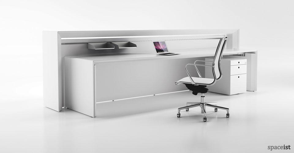 meta white reception desk