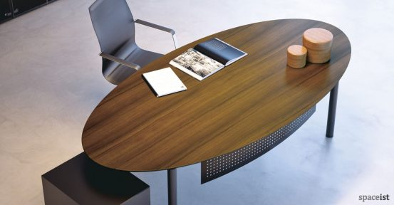meta curved wood executive desk