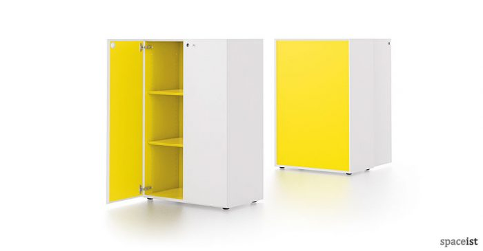 meta white and yellow two tone cabinet