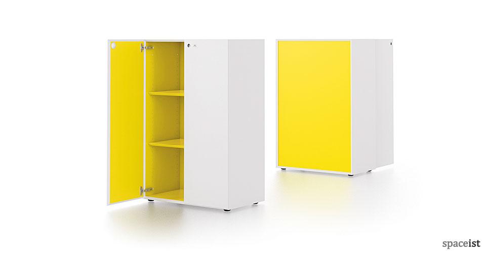 meta white and yellow two tone cabinet
