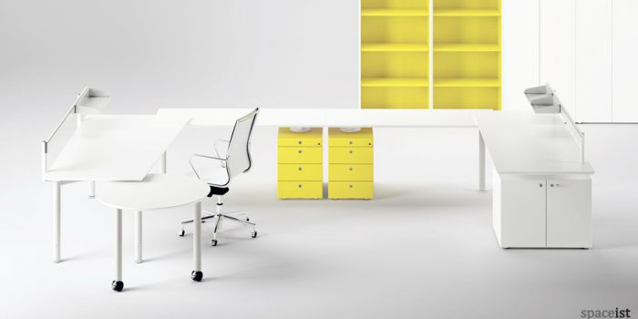 meta white and yellow office furniture collection