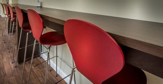 Prince Henry School red Ondo bar stools