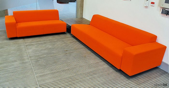 17 orange fabric modular reception sofa