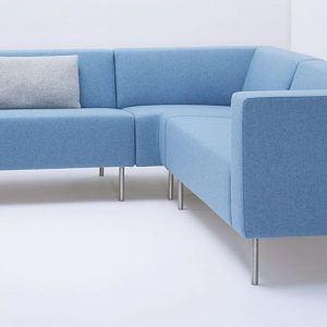 18 light blue fabric modular reception sofa