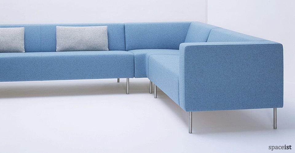 18 light blue fabric modular reception sofa