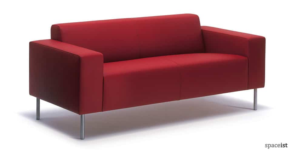 18 red 2 seater fabric reception sofas