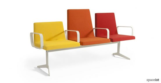 312 red orange and yellow reception bench seat