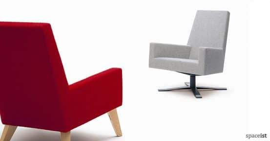 44 red fabric office reception chairs