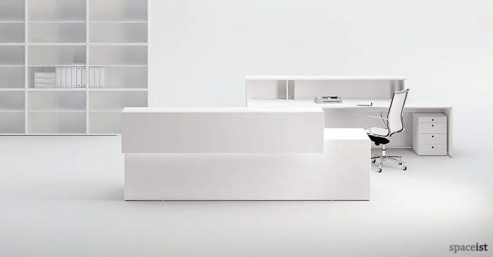 white minimalist desk white acrylic 45 white reception desk minimalist