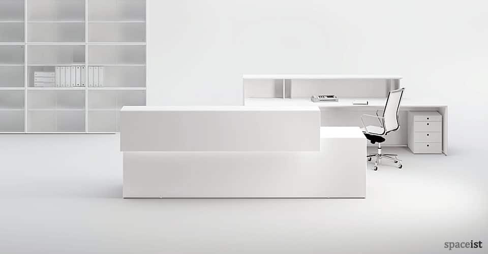 45 white reception desk