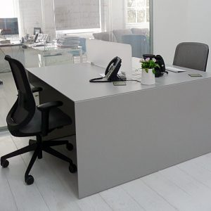 45 white office desk with desk light