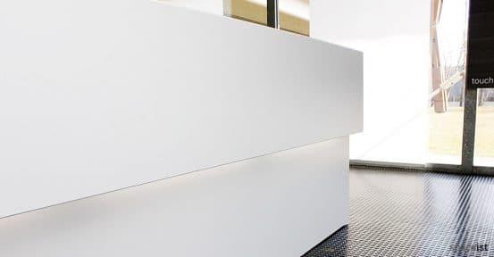 45 white corner reception desks