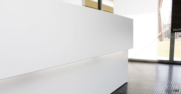 45 white corner reception desks