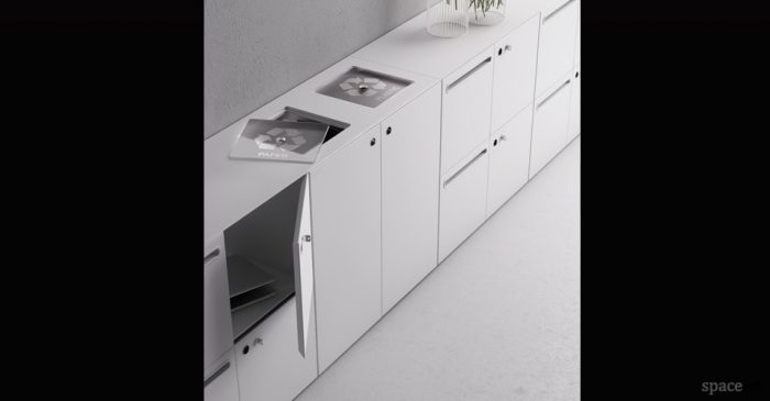 45 white recycling cuboard