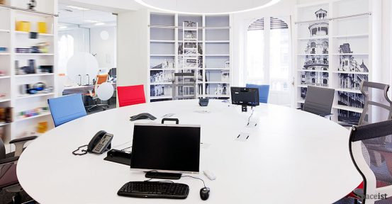 large round white meeting room table