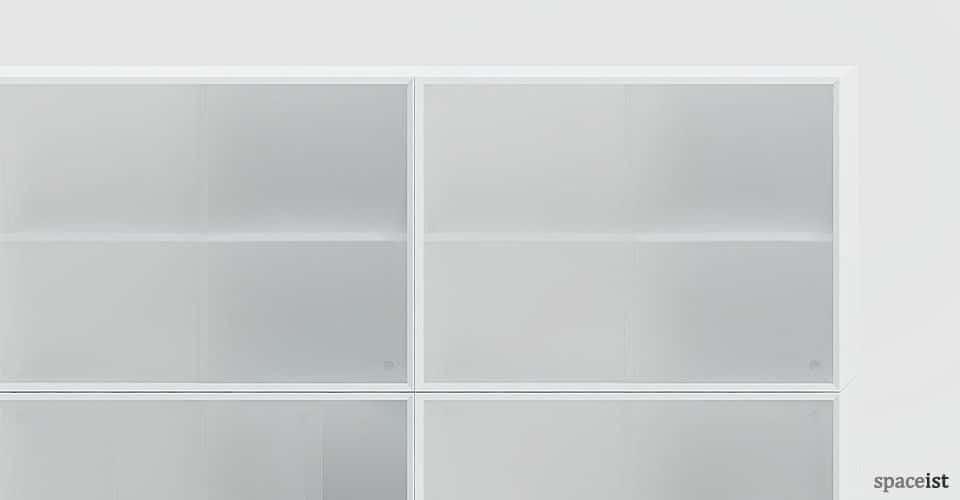 45 tall white sliding door storage closeup