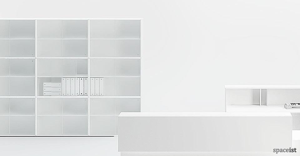 45 tall white sliding door storage