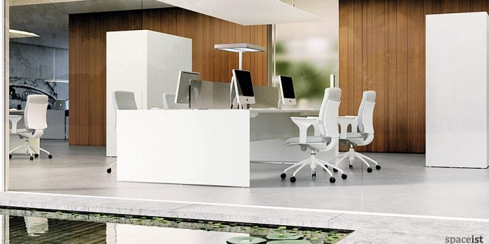 45 white bench desks