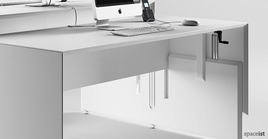 45 white height adjustable desk closeup