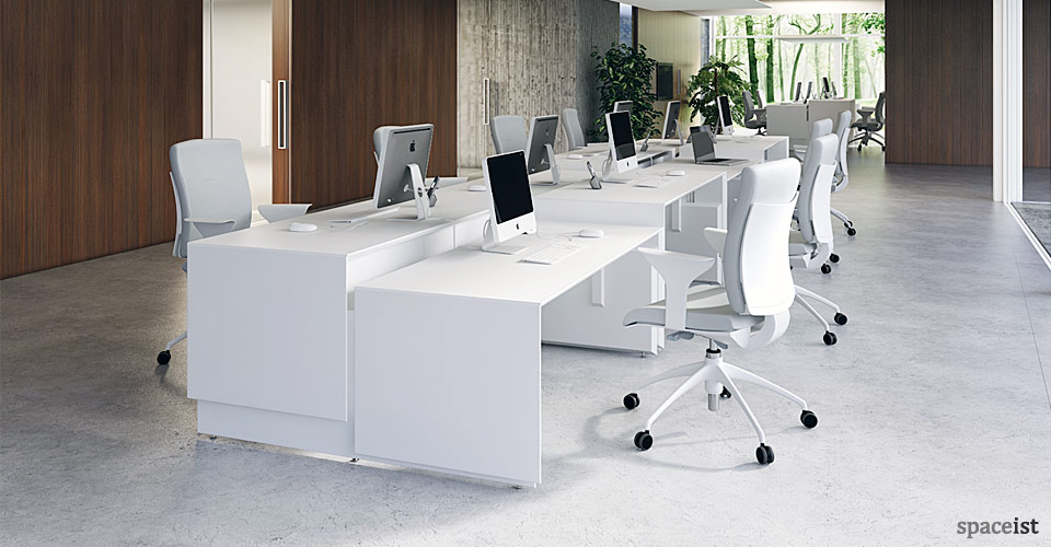 45 white height adjustable office desks