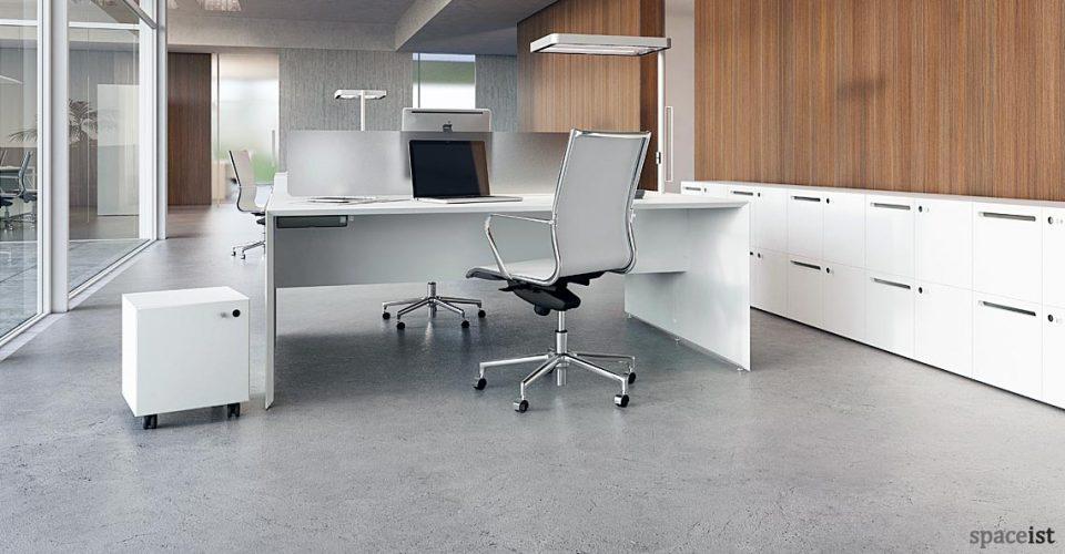 45 white office desk with desk light