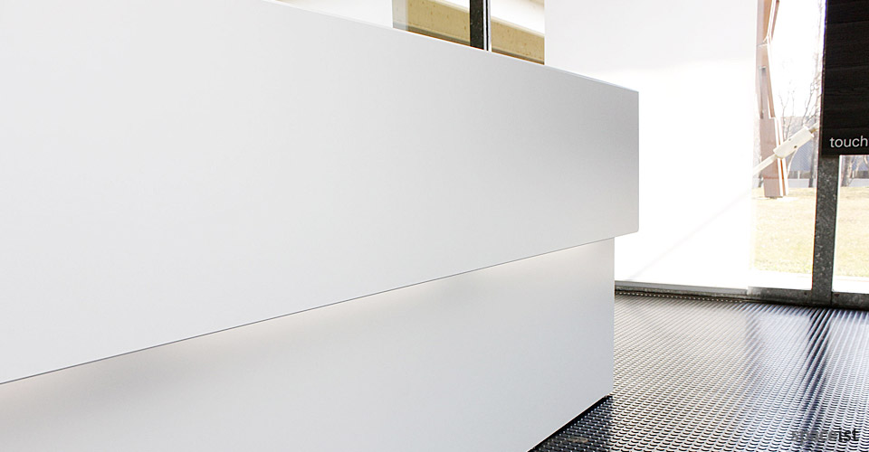 45 white reception desk