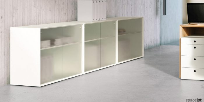 45 white sliding door storage