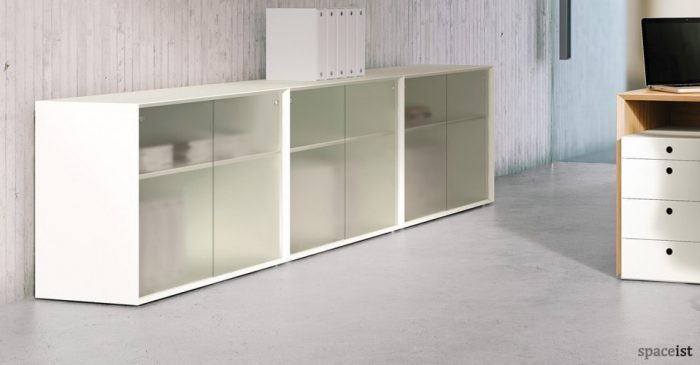 45 white sliding door storage