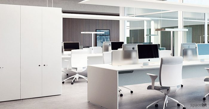 45 white tall office cabinets