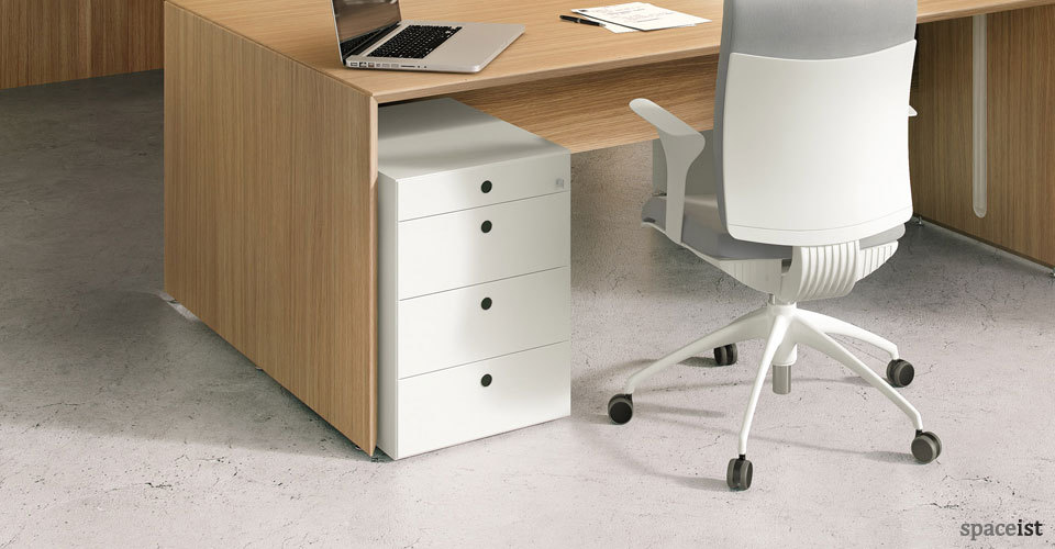 45 white under desk storage