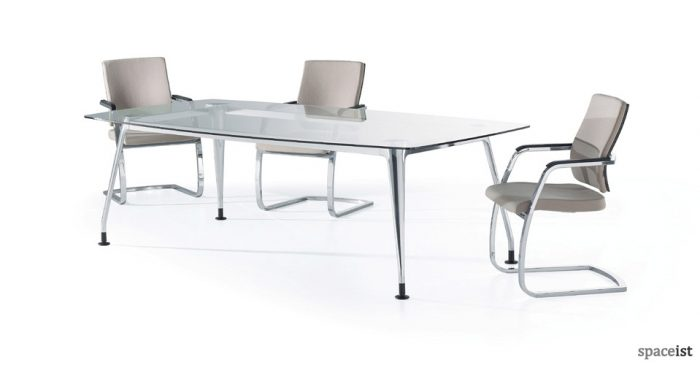 6 person dna glass meeting table
