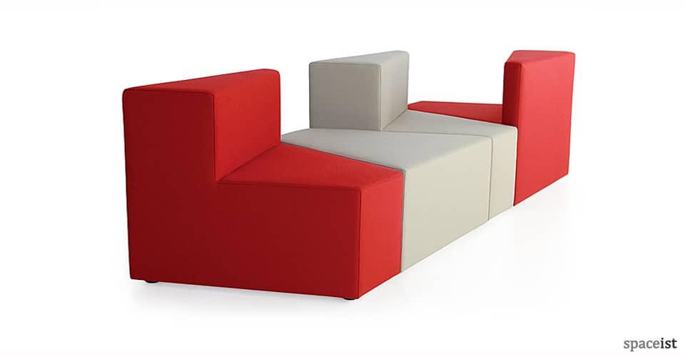 77 red grey geometric fabric sofa
