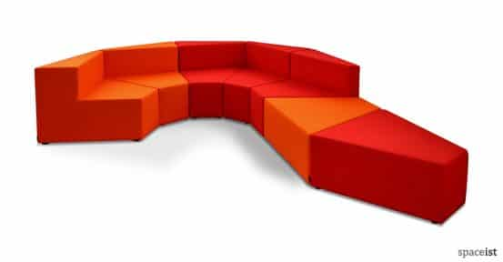 77 red orange modular reception sofas